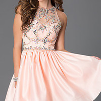 Short Sleeveless Dress with Jewel Embellished Sheer Bodice