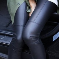 Ecosco Women Faux Leather Patch Fleece Ankle Length Footless Legging Tregging