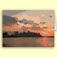 Boston sunset--blank card from Zazzle.com