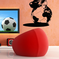 Vinyl Wall Decal Sticker Soccer Ball Globe #5072