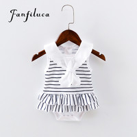 Fanfiluca New Born Striped Baby Girl Dress Cotton Soft  Newborn Body Suit Infant Baby Romper Clothes