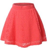 LE3NO Womens Floral Lace Versatile Flared Skater Skirt (CLEARANCE)