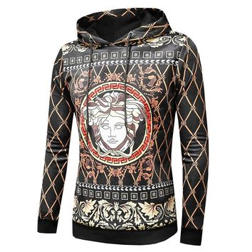 Medusa men's long T-shirt hoodie with fleece and thickening digital printed hoodie base