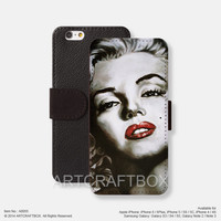 Oil painting Marilyn Monroe iPhone Samsung Galaxy leather wallet case cover 055