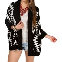 Black/Taupe Oversize Tribal Sweater
