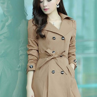 Long Sleeve Notched Collar with Scallop Lace Trim Trench Coat