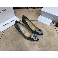 MB MANOLO BLAHNIK Women's Leather High-heeled Shoes