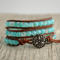 Turquoise blue beaded leather wrap bracelet. Beach chic jewelry