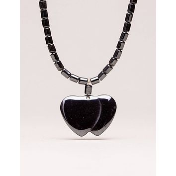 Hematite Double Heart Pendant Necklace