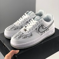 Nike Dior Air Force 1 printed flat casual sneakers for men and women