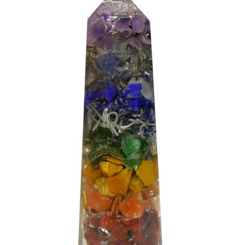 ON SALE Chakra Orgone Wand with Chakra Crystal Stones for Healing Reiki Stones Chakra Balancing Crystal Quartz