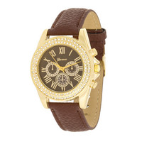 Brown Leather Watch With Crystals