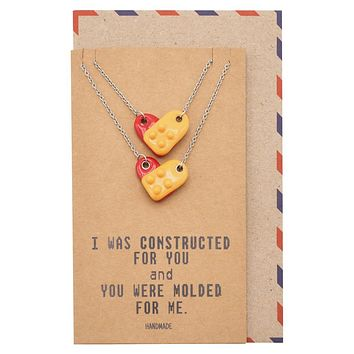 Aspen Lego Pendant Necklace Relationship Goals Gifts for Women with Greeting Card