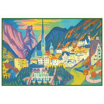 Summer in Davos Switzerland by Ernst Ludwig Kirchner Counted Cross Stitch Pattern