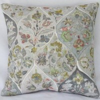 Pastel Floral Watercolor Pillow Cover, Grey Ogee Medallion
