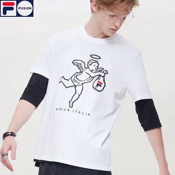"FILA Fashion Women Men Casual ""Little Angel"" Print Short Sleeve T-Shirt Top White"