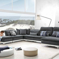 David Ferarri Horizon Modern Grey Fabric & Leather Sectional Sofa