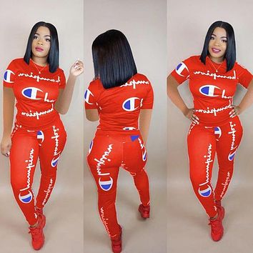 '' Champion '' Summer Popular Women Casual Print Top Pants Trousers Set Two-Piece Red