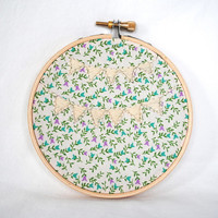 Floral Bunting Embroidery Hoop. Hand Made Embroidered Wall Art.
