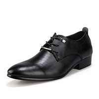New Men Business Formal Dress Shoes Oxford Men Leather Shoes Lace-Up Pointed Toe British Style Men Shoes Brown Black