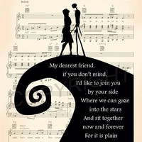 Nightmare Before Christmas Simply Meant To Be Sheet Music Art Print