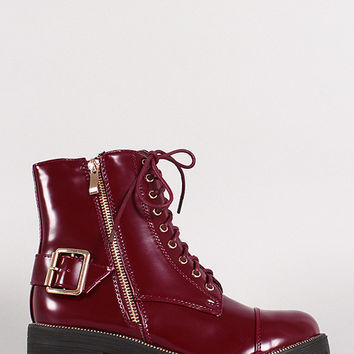 Zipper Lace Up Round Toe Combat Ankle Boots