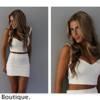 White sweetheart crop top , available in 8 colors.
