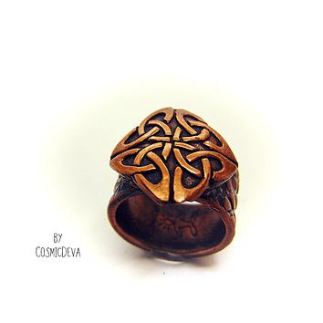 Celtic Knot Copper Ring, Celtic Jewelry, Norse Ring, US SIZE 7 Ring