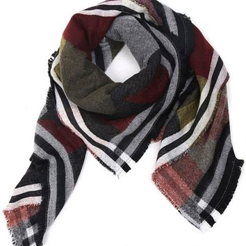 Chic Color-Blocked Geo Print Fringed Scarf - OASAP.com