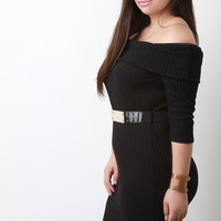 Plate Belt Off Shoulder Ribbed Knit Dress
