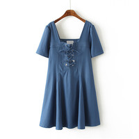 Women's Summer Casual Mini Dress Short Sleeve Deep Scoop Neckline Lace-up Front Dress