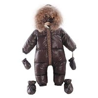 Baby's Warm One-piece Parka with Gloves
