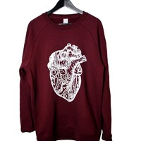 Thick Burgundy Heart Crew neck