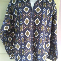 Vintage tribal print half zip pullover polar fleece jacket size ladies medium