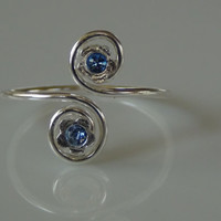 Sterling Silver 925 Adjustable Toe Ring with Double Swirl and Light Blue Center Stone