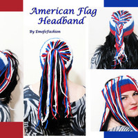 American Flag Headband Hair weave, chain head bohemian tribal aztec Hair Band American Flag Inspired Headband Red White and Blue July 4th