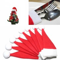 10pcs/lot Christmas Silverware Holder Mini Xmas Tree Santa Claus Hat Christmas Decoration For Home Navidad New 6*12CM  171122