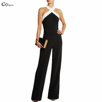 Cuyizan Elegant women jumpsuits Ladies playsuits Bodysuits Newest halter Fashion Black white stitching plus size overalls