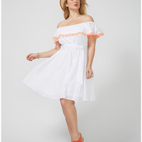 Off-the-shoulder dress with pompoms | Lane Bryant