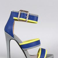 Qupid Snake Triple Strap Open Toe Heel