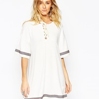 ASOS Kimono Dress with Lace Up Detail and Festival Trim