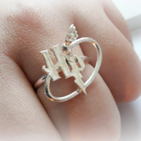 Harry Potter ring sterling silver - Made to order - Harry Potter initials and quiddich ball - Golden Snitch