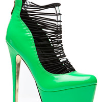 Green Patent Elasticized Platform Pumps