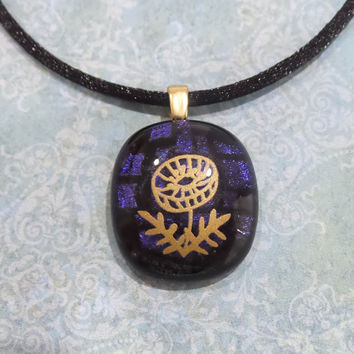 Gold Flower, Indigo Blue Dichroic, Handmade, Fused Glass Necklace, Ready to Ship - Tomasina - 5