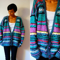 Vtg Colorful Cosby Print Turquoise Knitted Button Down Sweater