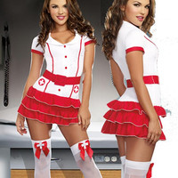 Sexy Hot Nurse Halloween Costume 3pc White Red Dress, Hat, Belt Small/Medium Adult Womens
