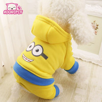 Cute Minions super hero dog costume hoodie vest clothing winter warm fleece small dog puppy coat jacket chihuahua dog clothes