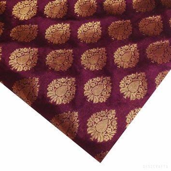 Burgundy and Gold Banarasi Jacquard Silk