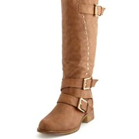 Studded Triple Buckle Boot by Charlotte Russe - Taupe