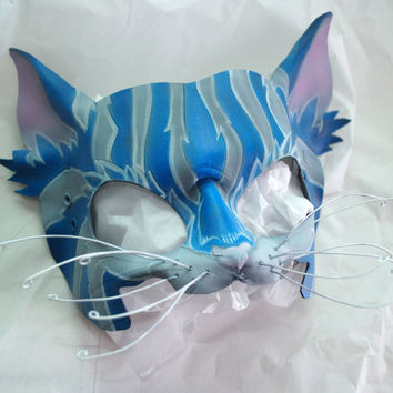 Reserved for Kim -- Cheshire Cat Leather Alice in Wonderland Cosplay Mask Tim Burton Version Colors